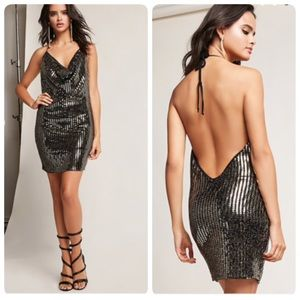 Forever 21 Metallic Sequin Halter Dress
